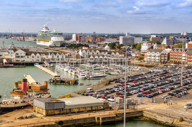 Aerial view of The Port of Southampton with Quay Marina and Boats, United Kingdom. SOUTHAMPTON, UK – AUG. 30, 2019: Aerial view of The Port of Southampton stock photos