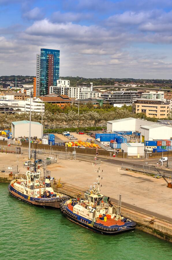 Aerial view of The Port of Southampton with Quay Marina and Boats, United Kingdom. SOUTHAMPTON, UK – AUG. 30, 2019: Aerial view of The Port of Southampton royalty free stock photography