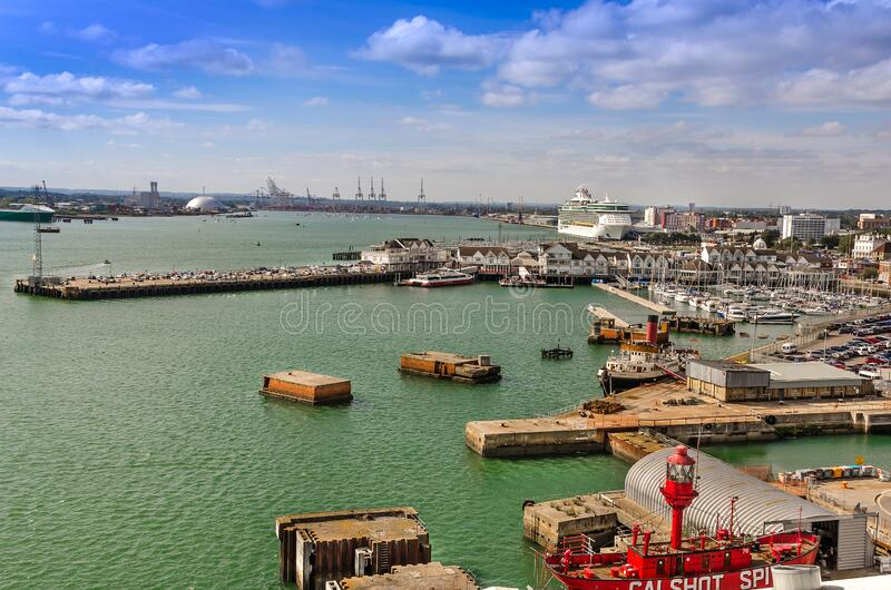 Aerial view of The Port of Southampton with Quay Marina and Boats, United Kingdom. SOUTHAMPTON, UK – AUG. 30, 2019: Aerial view of The Port of Southampton royalty free stock images