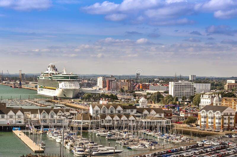 Aerial view of The Port of Southampton with Quay Marina and Boats, United Kingdom. SOUTHAMPTON, UK – AUG. 30, 2019: Aerial view of The Port of Southampton royalty free stock image