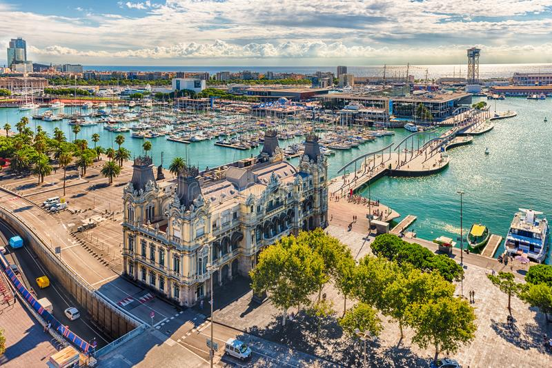 Aerial view of Port Vell, Barcelona, Catalonia, Spain royalty free stock photography