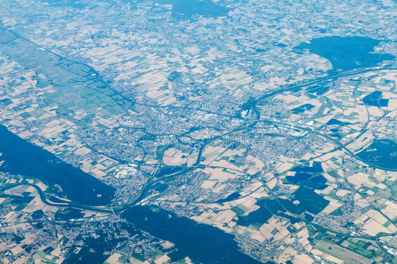 Aerial view of Porta Westfalica Westphalian Gap , Germany. Weser river runs here through the passage between Wiehen. Hills and Weser Hills royalty free stock photos