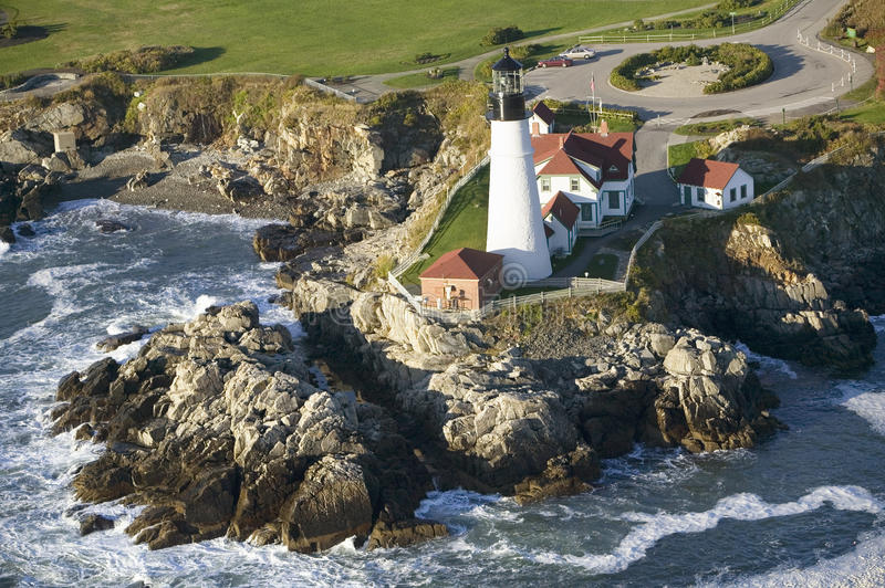 Aerial view of Portland Head Lighthouse, Cape Elizabeth, Maine royalty free stock images