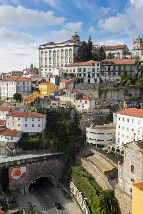 Aerial view of Porto with Episcopal Palace on the top royalty free stock image