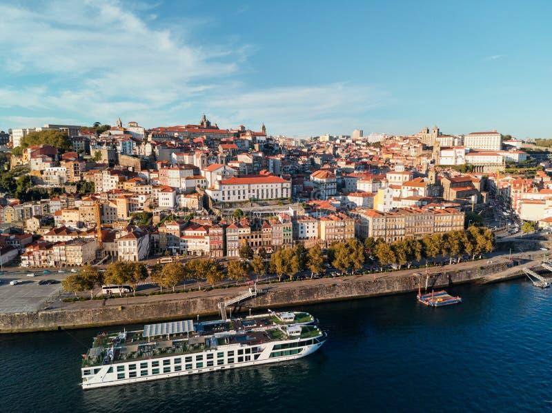 Aerial View of Porto Oporto City And Douro River Portugal stock image