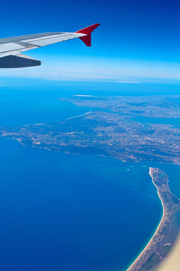 Aerial view of Portugal coast stock photography