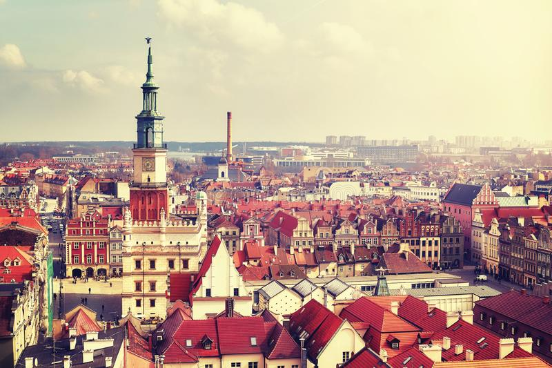 Aerial view of the Poznan Old Town, Poland. Aerial view of the Poznan Old Town, vintage color toned picture, Poland stock images