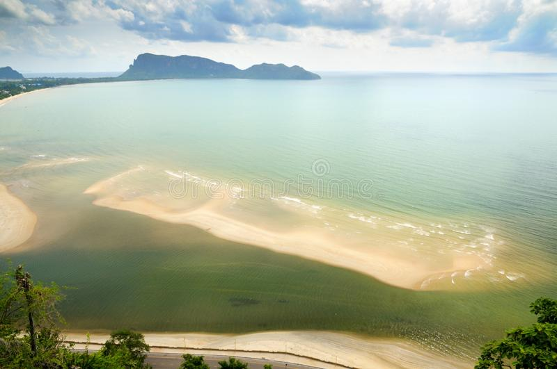 Aerial view of the Prachuap bay royalty free stock photography