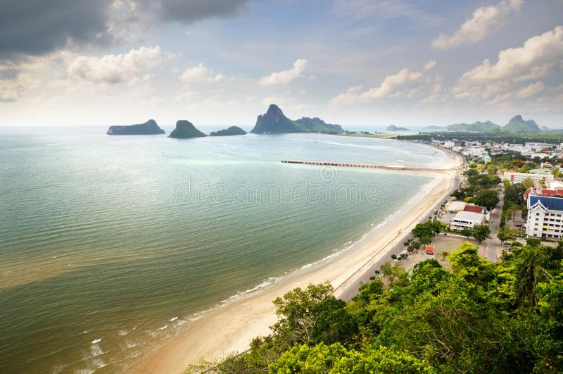 Aerial view of the Prachuap town seafront, Kao Lom Muak mountain and Prachuap bay royalty free stock photography