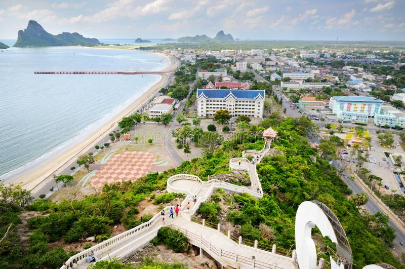 Aerial view of Prachuap town seafront, Kao Lom Muak mountain, stairs to Wat Khao Chong Kaeo Thai temple and Prachuap bay stock image