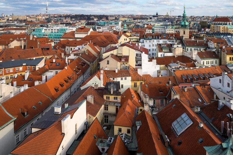 Aerial view of Prague is the capital of Czech Republic in Europe with many houses. Aerial view of Prague is the capital of Czech Republic in Europe with many stock photos