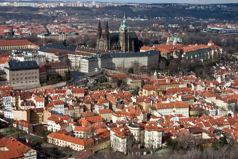 Aerial View of Prague Castle stock photo