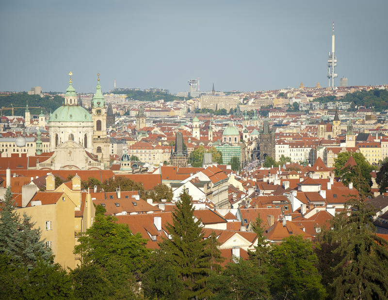 Aerial view on Prague city stock images