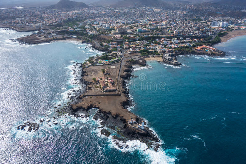 Aerial view of Praia city in Santiago - Capital of Cape Verde Is. Lands - Cabo Verde royalty free stock photography