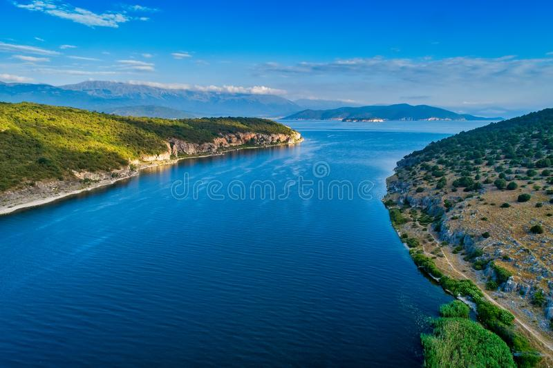 Aerial view of the Prespes lake. In Northern Greece stock photography