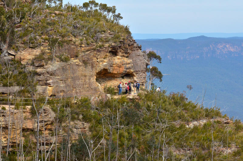 Aerial view of Prince Henry Cliff Walk in Katoombaa at the Blue stock photography