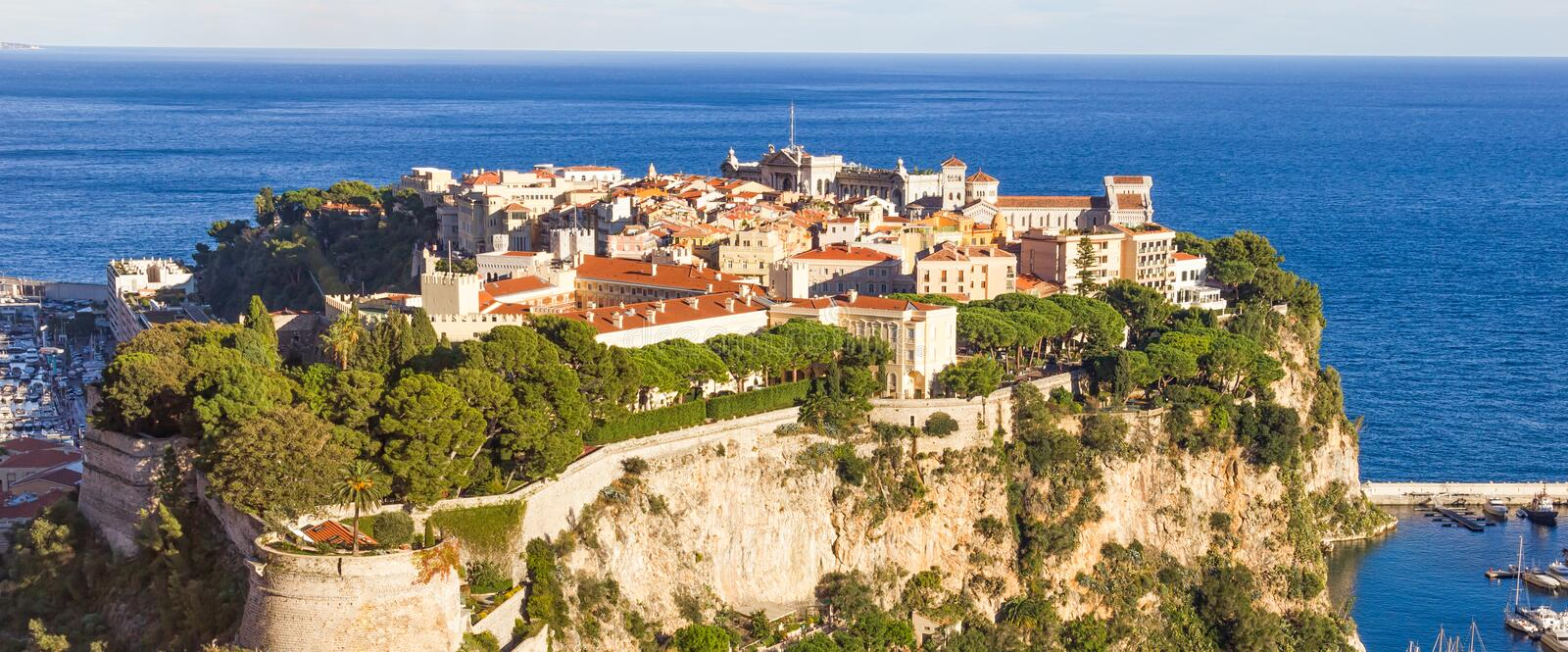 Aerial view of the Princes Palace, Monaco. Aerial view of the Princes Palace in Monaco stock image