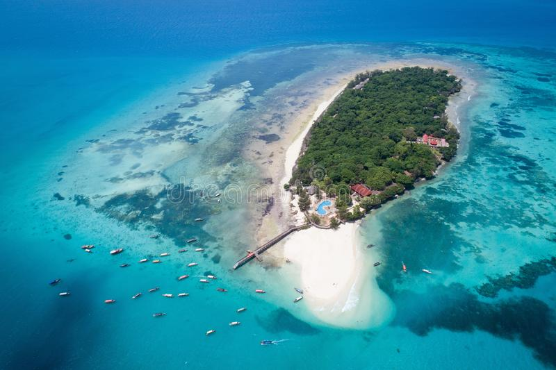 Aerial view of Prison island, Zanzibar. Island, Tanzania royalty free stock photo