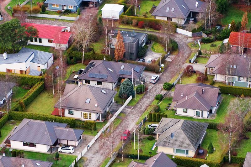 Viimsi district. Aerial view of private houses in Viimsi district stock image