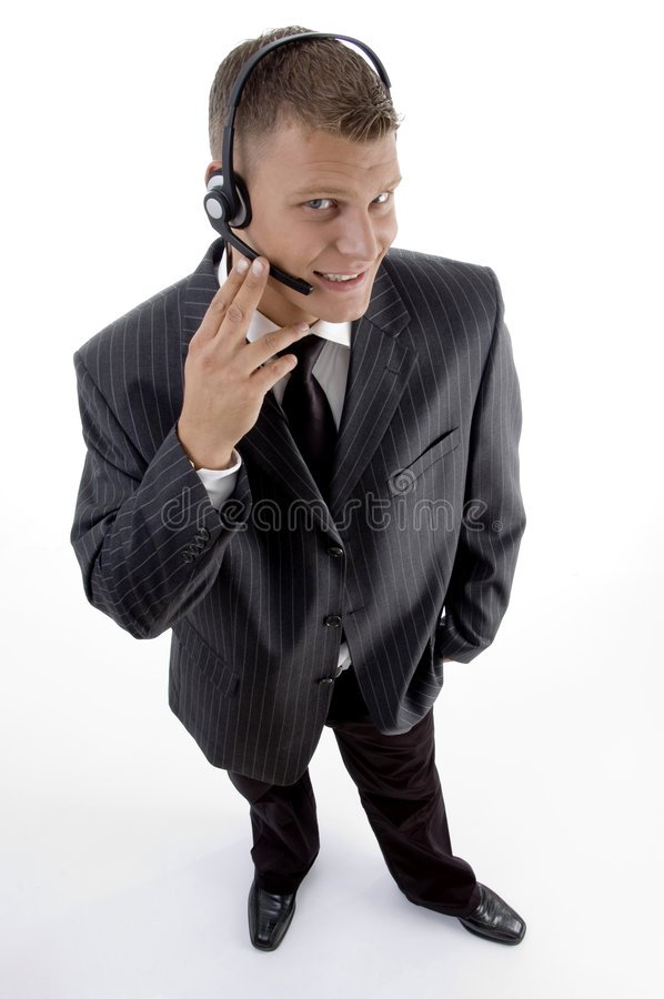 Aerial view of professional guy stock photography