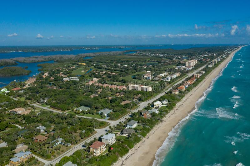 Aguarina Beach and Country Club in Brevard County Florida. An Aerial View of the property and its golf course on the barrier isalnd in Brevard County Florida royalty free stock photography