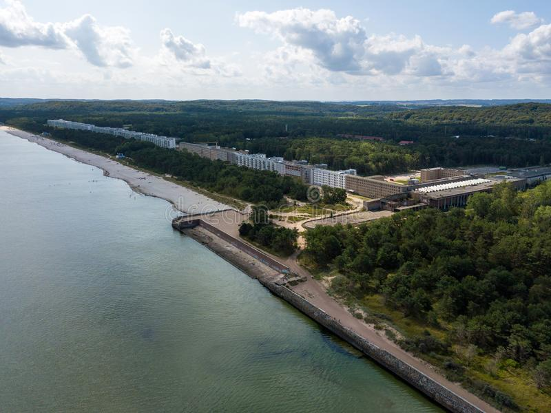 Aerial view on Prora, a massive project built by the Nazi-Regime. Aerial view on Prora, a massive project known as Colossus of Prora built by the Nazi-Regime stock images