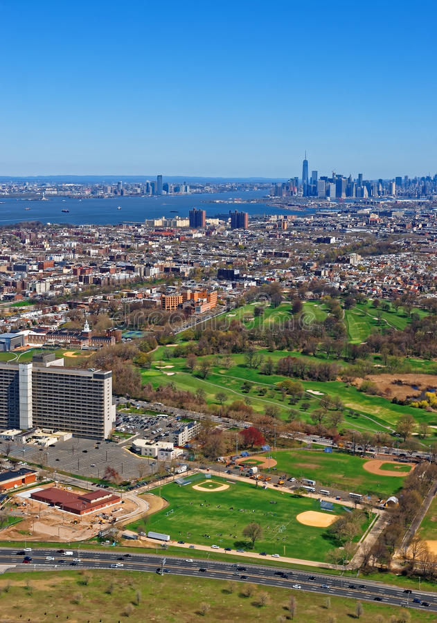 Aerial view of Prospect Park in Brooklyn and downtown Manhattan. Aerial view of Prospect Park in Brooklyn with downtown Manhattan in the background. Brooklyn stock image