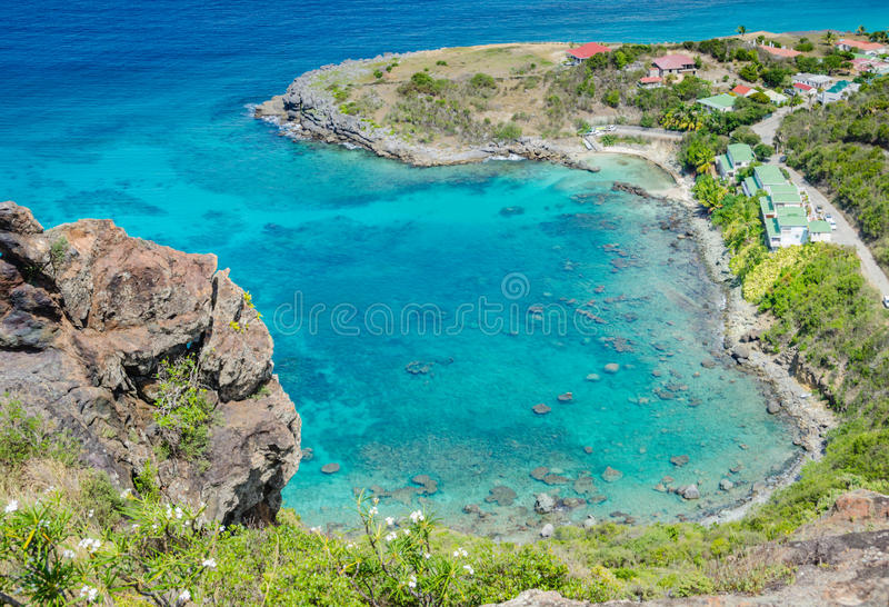 Aerial View of Protected Bay - St. Barths royalty free stock photography