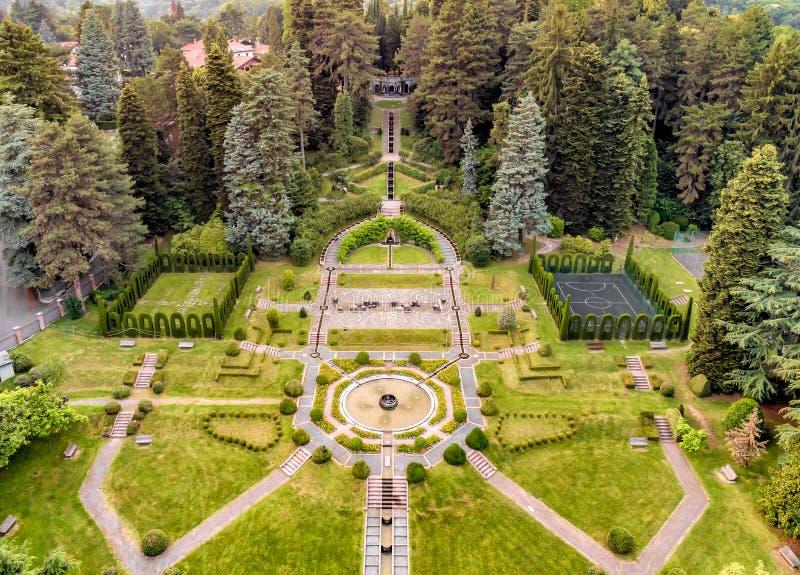 Aerial view of public garden in Villa Toeplitz in the summer,Varese, Italy royalty free stock photos