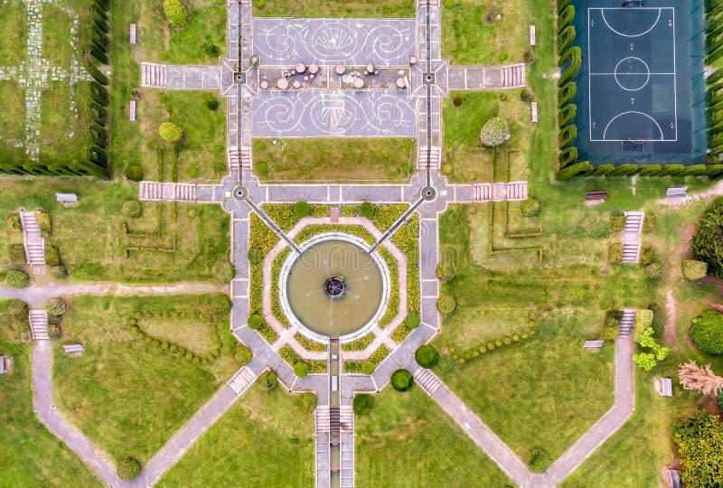 Aerial view of public garden in Villa Toeplitz in the summer,Varese, Italy stock photos