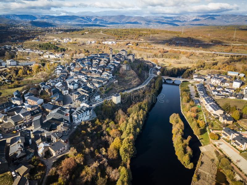 Aerial view of Puebla de Sanabria in Spain. Aerial view of the small town of Puebla de Sanabria in Northwest Spain, one of the oldest settlements in the province royalty free stock photo
