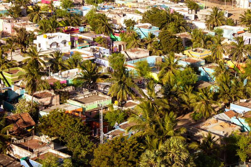 Aerial view of Pulicatalso called as Pazhaverkadu town, Tamil Nadu, India. Pulicat town is in north of Chennai.  stock photo
