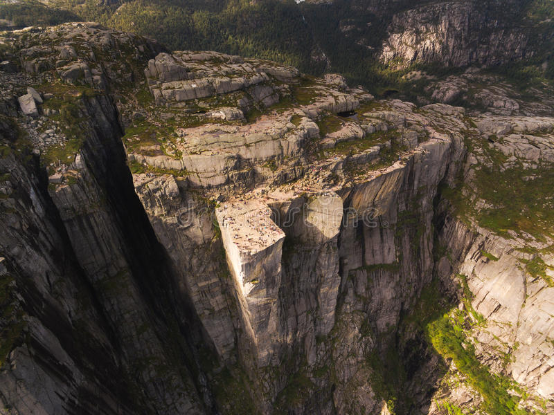 Aerial view of the Pulpit Rock stock photo