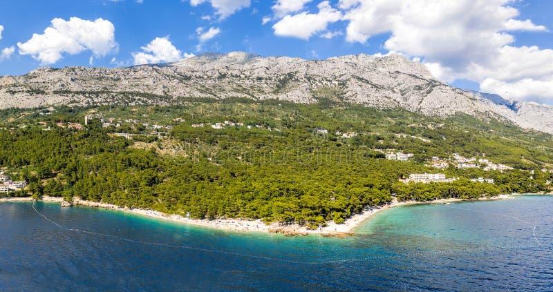 Aerial view of Punta Rata beach in Brela, Dalmatia, Croatia royalty free stock photo