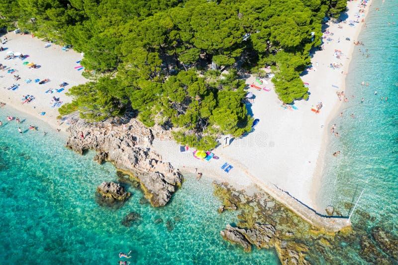 Aerial view of Punta Rata beach in Brela, Dalmatia, Croatia stock images