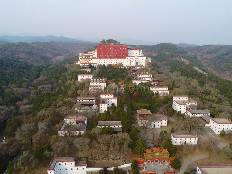 Aerial view of The Putuo Zongcheng Buddhist Temple. One of the Eight Outer Temples of Chengde, built between 1767 and 1771 and modeled after the Potala Palace of stock image