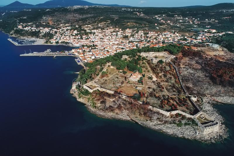 Aerial view of Pylos historically also known under its Italian name Navarino, is a town and a former municipality in Messenia, royalty free stock photography