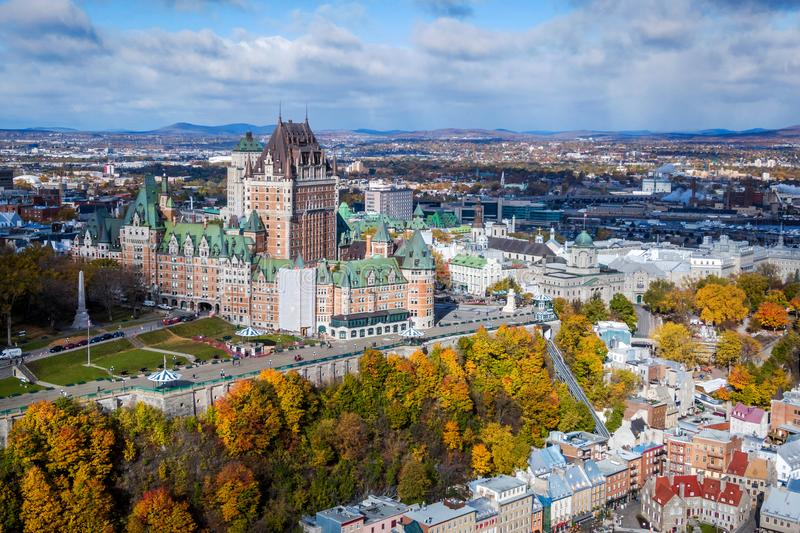 Aerial View of Quebec City in the Fall, Canada. Aerial view of Frontenac Castle in Old Quebec City in the Fall season, Quebec, Canada royalty free stock photography