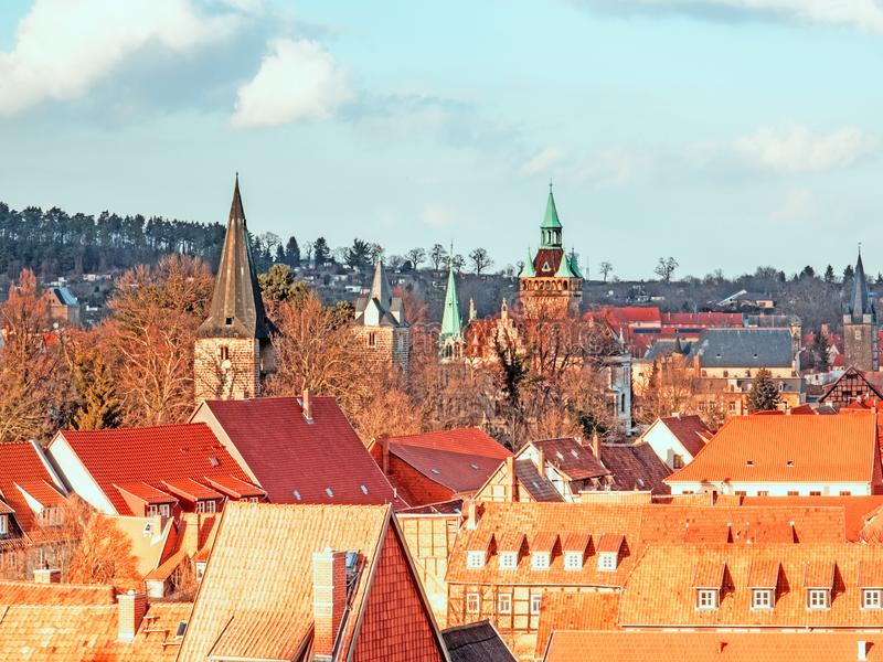 Aerial view of Quedlinburg with churches and monuments.  stock image