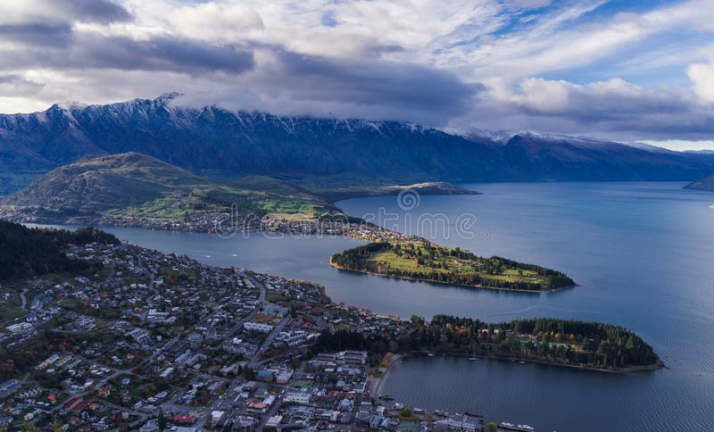 Aerial view of Queenstown in daytime. New zealand royalty free stock image