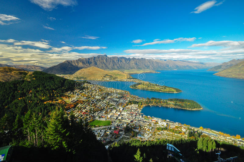 Aerial view of Queenstown, New Zealand stock images