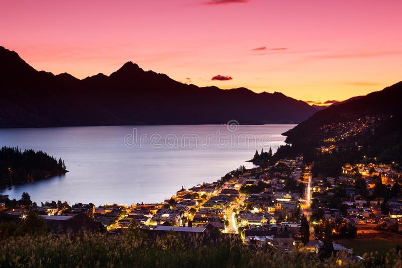 Aerial view of Queenstown. At twilight, New Zealand royalty free stock image