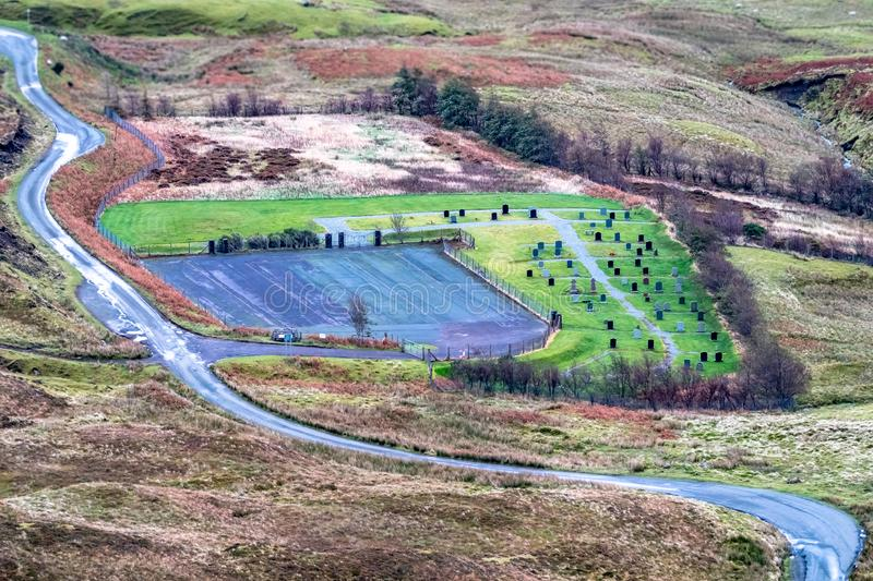Aerial view of the Quiraing graveyard, cemetry, between Staffin and Uig on the Isle of Skye, Scotland royalty free stock photo