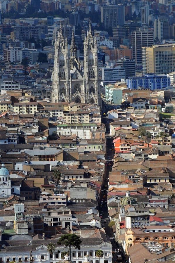 Aerial view of Quito, Ecuador stock photo