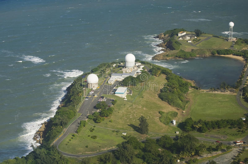 Aerial view of Radome antenna Northern Puerto Rico. Aerial view of Radome antenna at Punta Salinas radio station North west of Puerto Rico stock photos