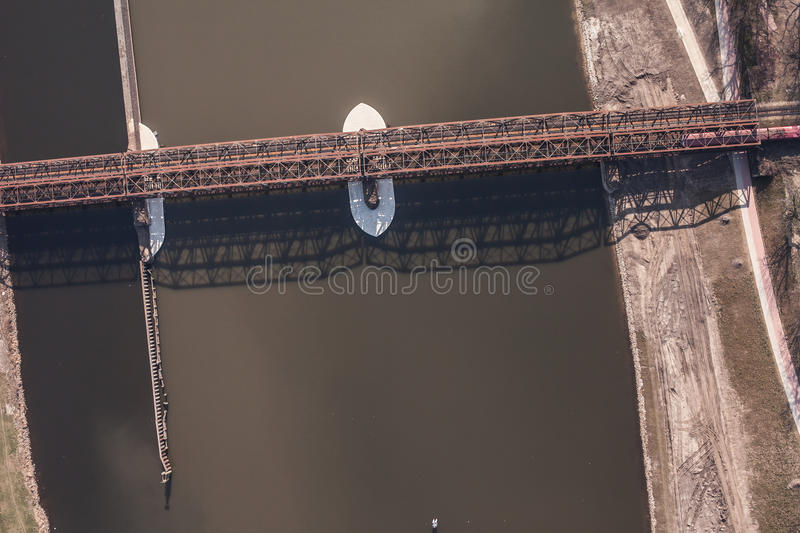 Aerial view of railway bridge. On odra river in Wroclaw Poland stock photography