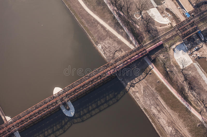 Aerial view of railway bridge. On odra river in Wroclaw Poland royalty free stock photo