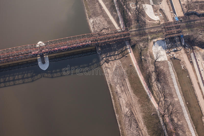 Aerial view of railway bridge. On odra river in Wroclaw Poland stock photos
