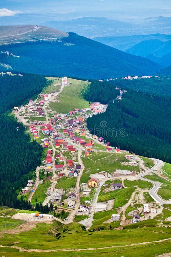 Aerial view of Ranca town in Parang mountains stock photography