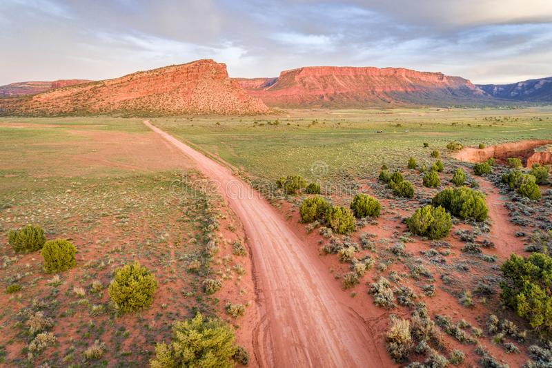 Rnach road - aerial view. Aerial view of a ranch road in the Moab area, Utah Onion Creek Road stock photography